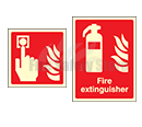 Photo-luminescent Fire Extinguisher I.D Signs