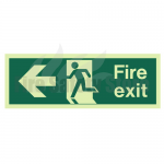 600mm X 200mm Photoluminescent Fire Exit Left Sign