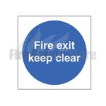 80mm X 80mm Rigid Plastic Fire Exit Keep Clear Sign