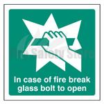 200mm X 200mm Rigid Plastic In Case Of Fire Break Glass Bolt To Open Sign