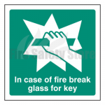 200mm X 200mm Rigid Plastic In Case Of Fire Break Glass For Key Sign