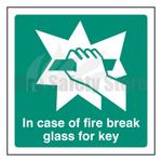 100mm X 100mm Rigid Plastic In Case Of Fire Break Glass For Key Sign