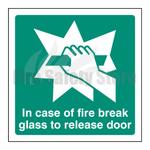 100mm X 100mm Rigid Plastic In Case Of Fire Break Glass To Release Door Sign