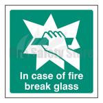 100mm X 100mm Rigid Plastic In Case Of Fire Break Glass Sign