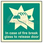 100mm X 100mm Photoluminescent In Case Of Fire Break Glass To Release Door Sign