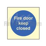 80mm X 80mm Photoluminescent Fire Door Keep Closed Sign