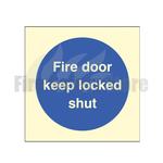80mm X 80mm Photoluminescent Fire Door Keep Locked Shut Sign