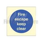 80mm X 80mm Photoluminescent Fire Escape Keep Clear Sign