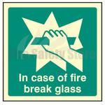 200mm X 200mm Photoluminescent In Case Of Fire Break Glass Sign