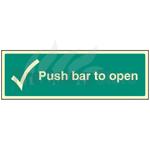 450mm X 150mm Photoluminescent Push Bar To Open Sign 1