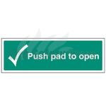 300mm X 100mm Rigid Plastic Push Pad To Open Sign 1