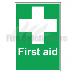 First Aid w/ White Cross Rigid Plastic Sign 20x30cm