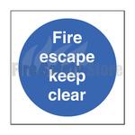 100mm X 100mm Rigid Plastic Fire Escape Keep Clear Sign