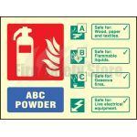 100mm x 150mm Landscape Photoluminescent ABC Dry Powder Fire Extinguisher Sign