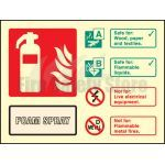 100mm x 150mm Landscape Photoluminescent AFFF Foam Spray Fire Extinguisher Sign