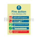 200mm X 150mm Photoluminescent Public Fire Action Sign 1