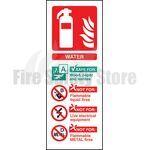 Portrait Rigid Plastic Water Fire Extinguisher Sign