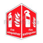 Rigid Plastic 150mm x 200mm Fire Extinguisher Projecting Sign