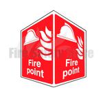Rigid Plastic 150mm x 200mm Fire Point Projecting Sign