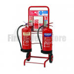 Double Fire Extinguisher Trolley Complete With Backboard