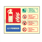 Landscape Photo-luminescent L2 Powder Fire Extinguisher Sign