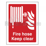 200mm X 150mm Rigid Plastic Fire Hose Reel Keep Clear Sign