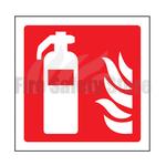 100mm X 100mm Rigid Plastic Fire Extinguisher Sign