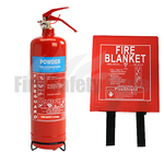 1kg ABC Dry Powder Fire Extinguisher & 1.0m x 1.0m Hard Case Fire Blanket