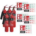 2kg Co2 Fire Extinguishers x5 & Landscape Rigid Plastic CO2 ID Signs x5