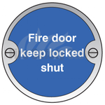 Prestige Fire Door Keep Locked Shut Anodized Aluminium Sign 80mm x 80mm