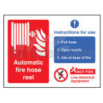 Self Adhesive Automatic Hose Reel Instruction Sign