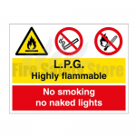 300 x 200 L.P.G Highly Flammable No Smoking Or Naked Lights Sign