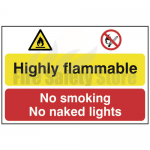 Danger - Highly Flammable - No Smoking or Naked Lights Sign