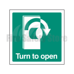 Turn Right To Open Sign, Finish: Self Adhesive Vinyl, Signage Size: 100mm x 100mm