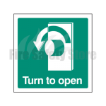 Turn Left To Open Sign, Finish: Self Adhesive Vinyl, Signage Size: 100mm x 100mm