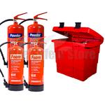 Commander Safety Box, 2 x Commander 6ltr Foam & 2x Commander 6kg Dry Powder Fire Extinguishers