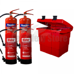 Commander Safety Box, 2 x Commander 6ltr Water & 2x Commander 6kg Dry Powder Fire Extinguishers