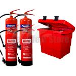 Commander Safety Box, 2 x Commander 6ltr Water & 2x Commander 6kg Dry Powder Fire Extinguishers