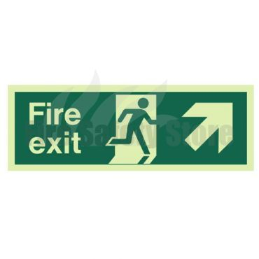 300mm X 100mm Photoluminescent Fire Exit Ahead Right Sign