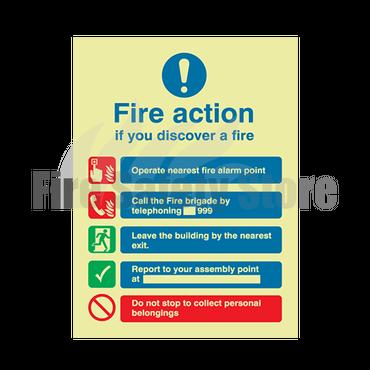 200mm X 150mm Photoluminescent Public Fire Action Sign 1