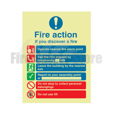 200mm X 150mm Photoluminescent Public Fire Action Sign 2