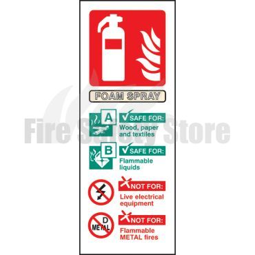 Portrait Rigid Plastic AFFF Foam Fire Extinguisher Sign