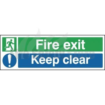 300mm X 100mm Self Adhesive Fire Exit Keep Clear Sign