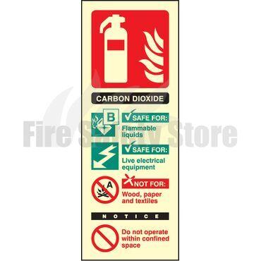 Portrait Photo-luminescent Co2 Fire Extinguisher Sign