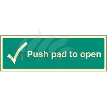 Photoluminescent Push Pad To Open Sign 300mm x 100mm