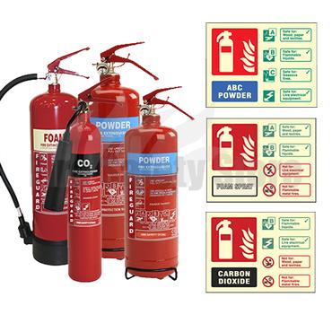 2KG Co2, 2KG ABC Dry Powder, 3KG ABC Dry Powder, 6LTR AFFF Foam Fire Extinguishers & Extinguisher ID Signs