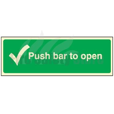 Photoluminescent Push Bar To Open Sign 300mm x 100mm
