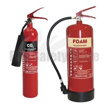2kg Co2 & 6ltr AFFF Foam Fire Extinguisher Pack