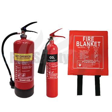 2KG Co2, 6LTR Wet Chemical Fire Extinguisher & 1.0m x 1.0m Hard Case Fire Blanket