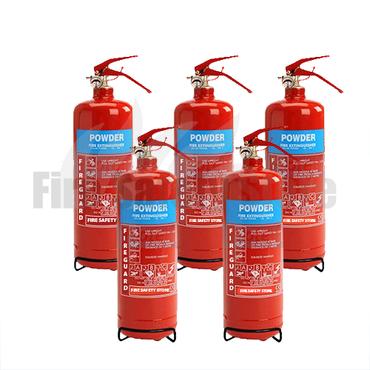 2Kg ABC Dry Powder Fire Extinguishers X5